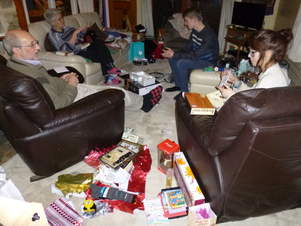 ....chaos of wrapping paper, presents, boxes etc.