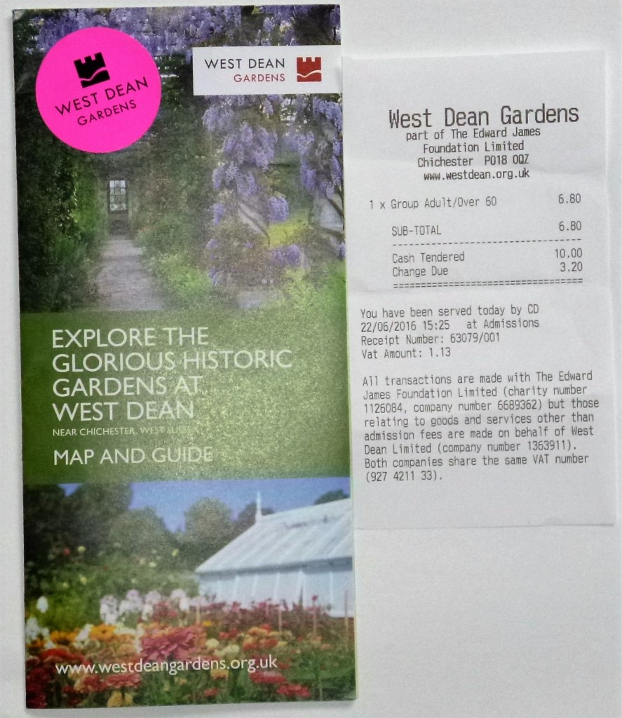 West Dean gardens map and ticket