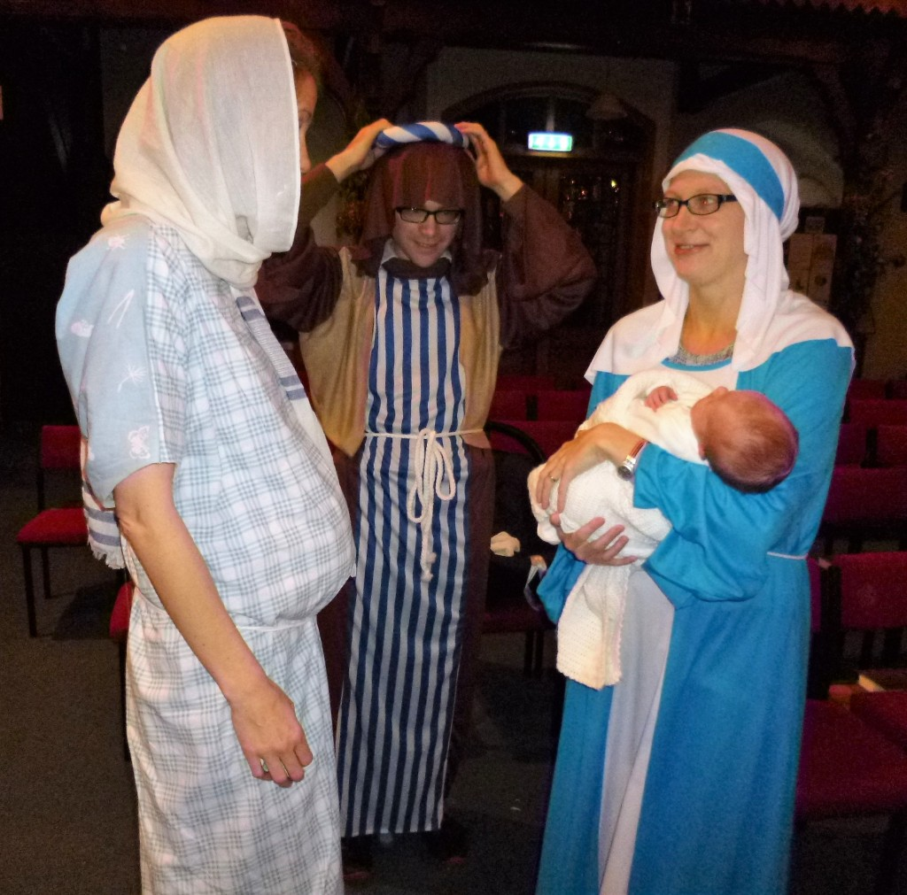 "The holy family - with 2 Mary's!  One was the pregnant one (just a cushion) and one was ""Jesus"" mother."