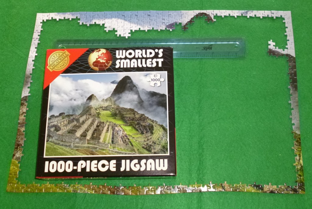 Jigsaw started with ruler to show size.