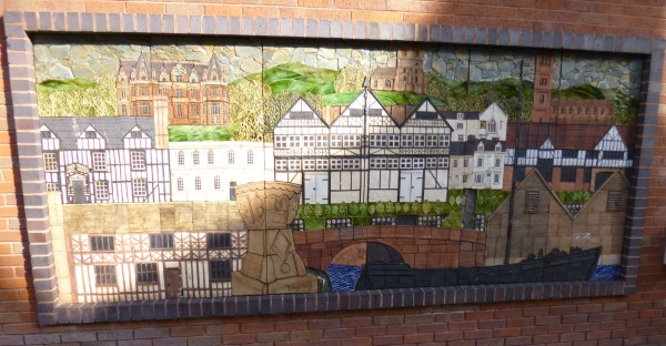 Mural showing the main features of Droitwich Spa.