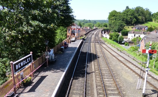 View of the line from the bridge at Bewdley