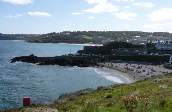 Looking back to Porthgwidden Beach and the town from The Island
