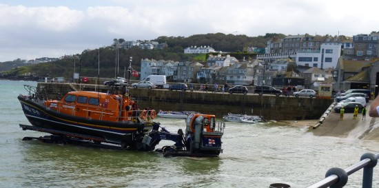 Taking the lifeboat ount into the deep enough water